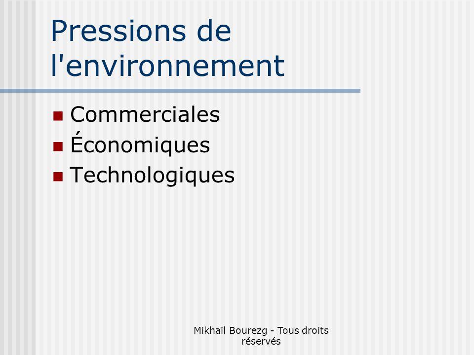 Mikhaïl Bourezg - Tous droits réservés Pressions de l environnement Commerciales Économiques Technologiques