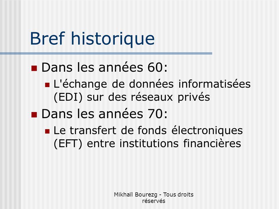 Mikhaïl Bourezg - Tous droits réservés Bref historique Dans les années 60: L échange de données informatisées (EDI) sur des réseaux privés Dans les années 70: Le transfert de fonds électroniques (EFT) entre institutions financières