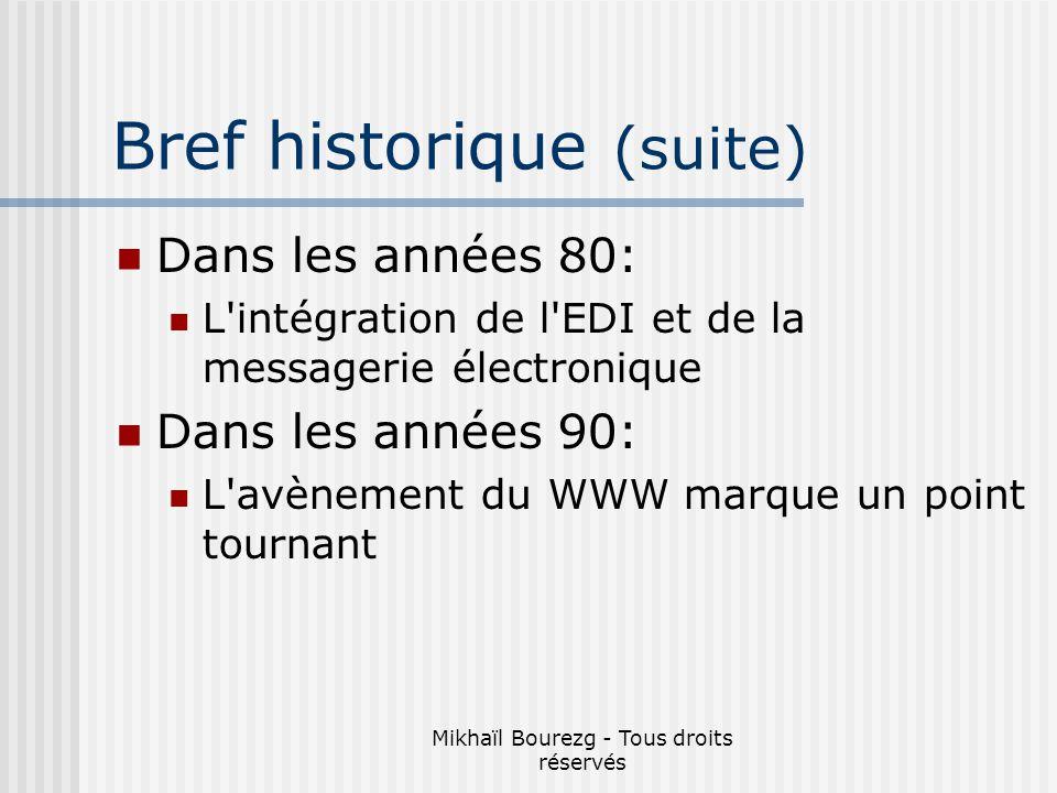 Mikhaïl Bourezg - Tous droits réservés Bref historique (suite) Dans les années 80: L intégration de l EDI et de la messagerie électronique Dans les années 90: L avènement du WWW marque un point tournant