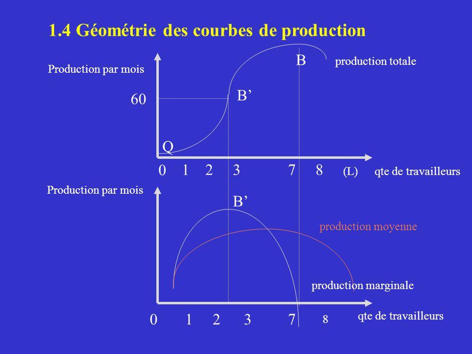 1.4 Géométrie des courbes de production Production par mois qte de travailleurs production totale production moyenne production marginale 0 0 1 1 2 2 3 3 7 7 (L) 8 B B Q B 8 60