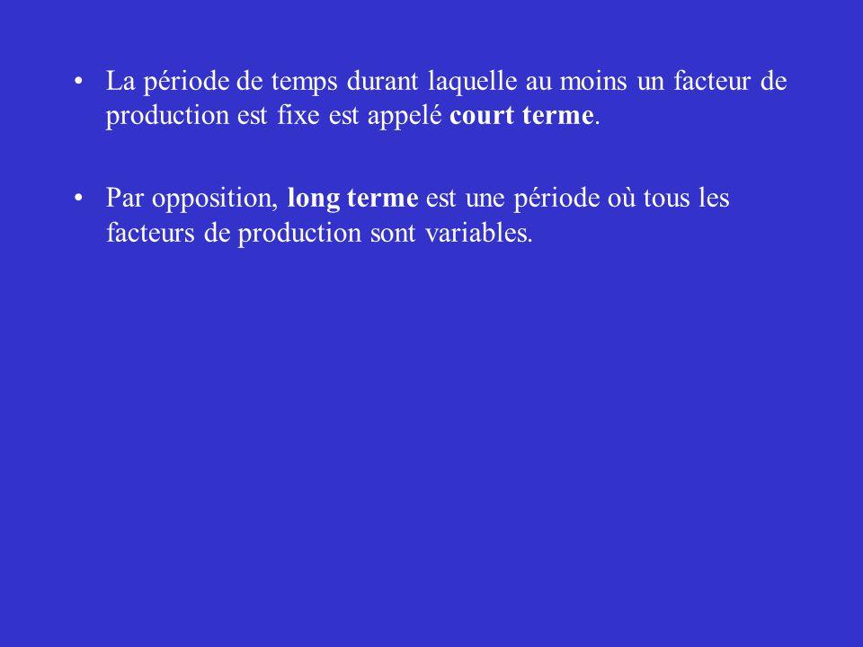 La période de temps durant laquelle au moins un facteur de production est fixe est appelé court terme. Par opposition, long terme est une période où t