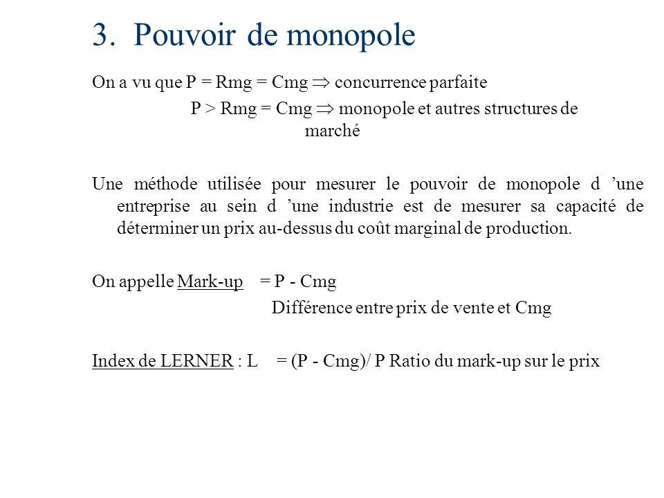 3. Pouvoir de monopole On a vu que P = Rmg = Cmg concurrence parfaite P > Rmg = Cmg monopole et autres structures de marché Une méthode utilisée pour