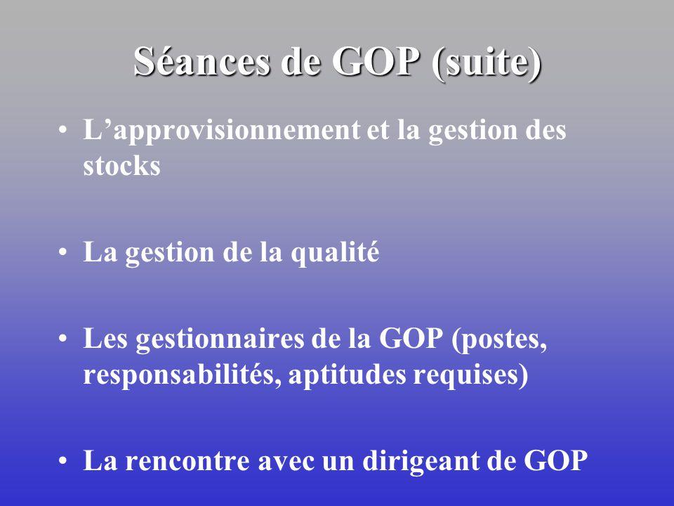 Les sept séances en GOP Limportance de la GOP dans la gestion de lentreprise La conception et lamélioration dun système de production La planification
