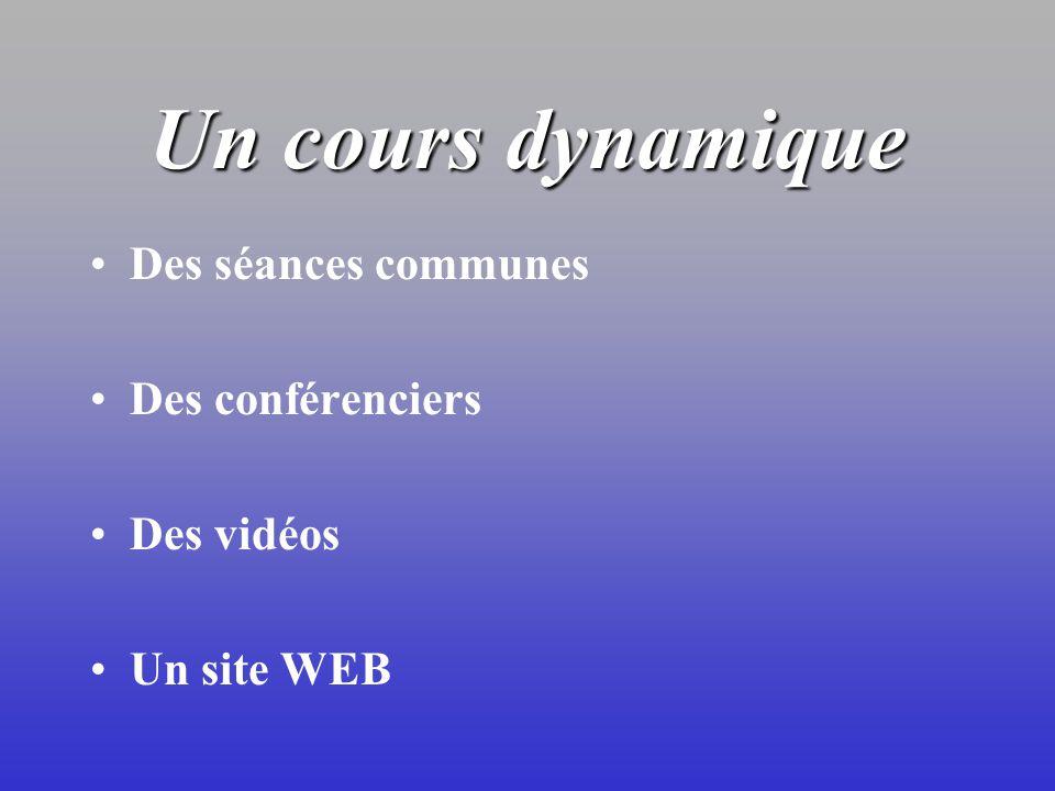 Un cours dynamique Des séances communes Des conférenciers Des vidéos Un site WEB