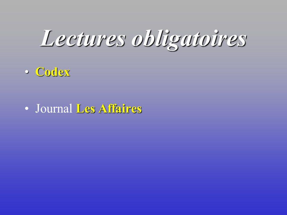 Lectures obligatoires CodexCodex Les AffairesJournal Les Affaires