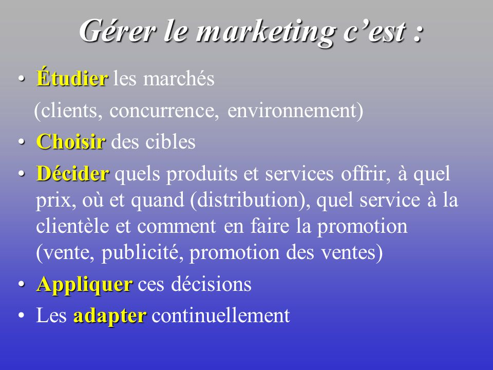 LA FONCTION MARKETING