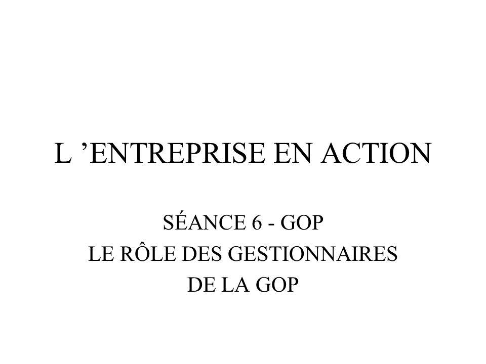 Objectifs de la séance Donner un aperçu des différents rôles tenus par les gestionnaires de la GOP, des postes qu ils occupent et des responsabilités attachées à ces postes.