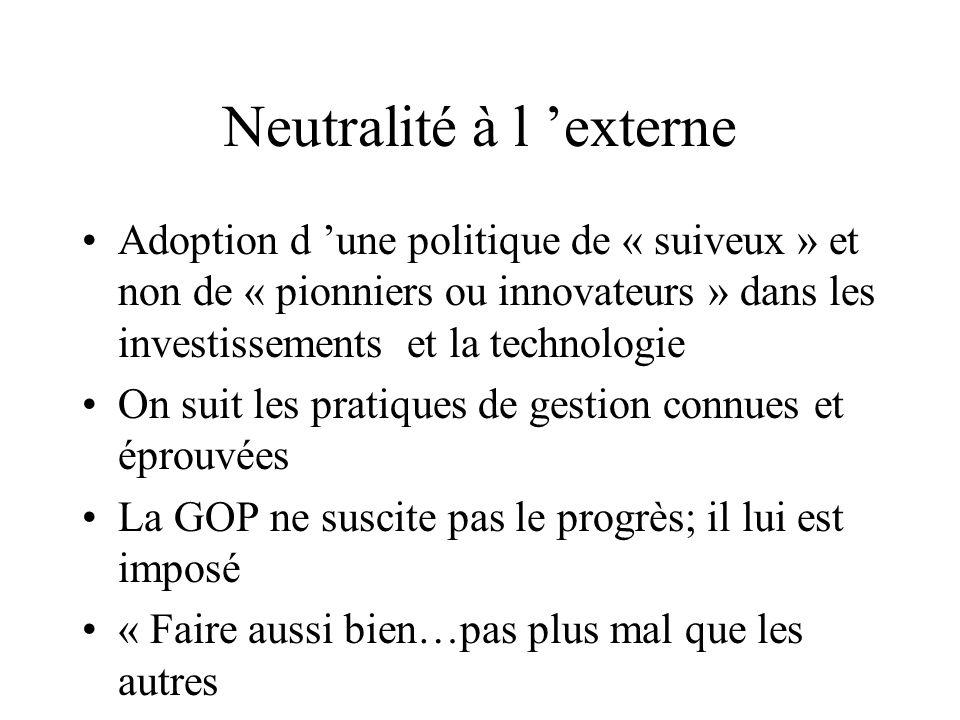 Neutralité à l externe Adoption d une politique de « suiveux » et non de « pionniers ou innovateurs » dans les investissements et la technologie On su