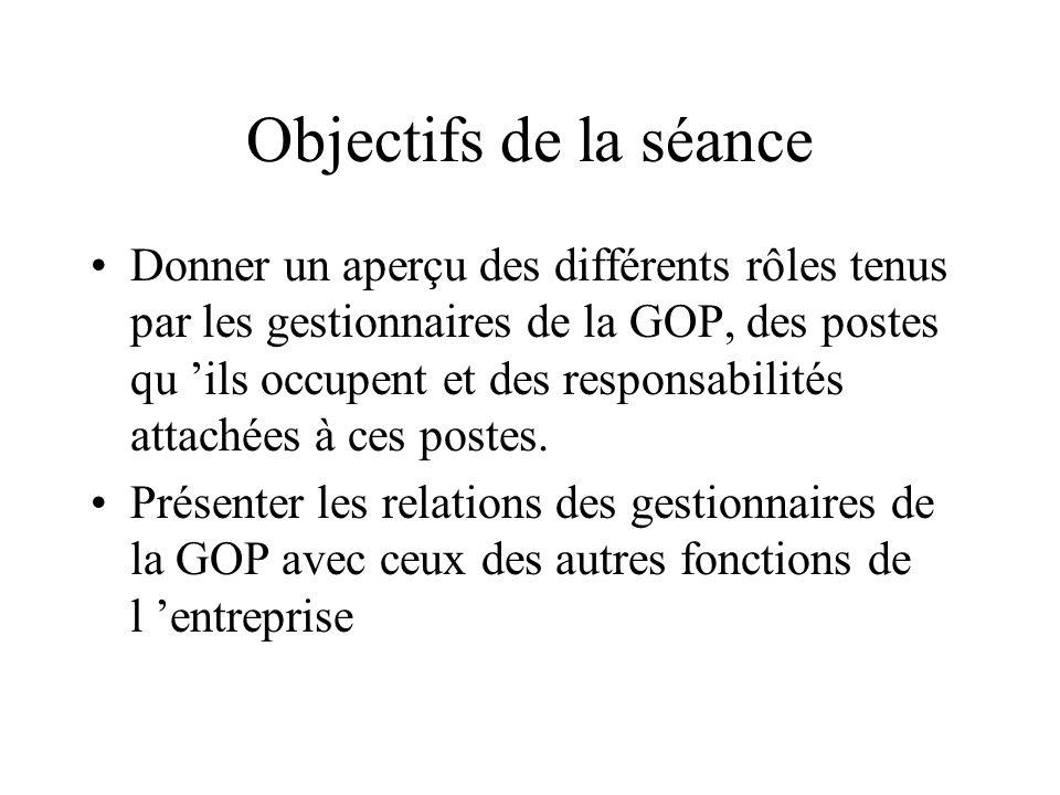 Objectifs de la séance Donner un aperçu des différents rôles tenus par les gestionnaires de la GOP, des postes qu ils occupent et des responsabilités