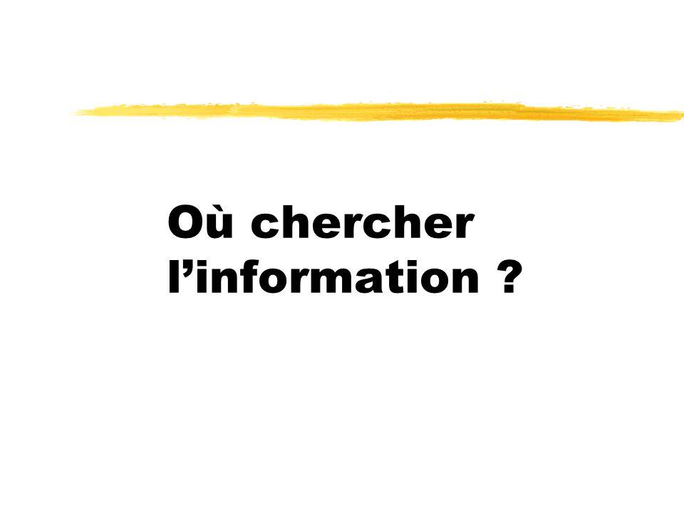 Où chercher linformation ?