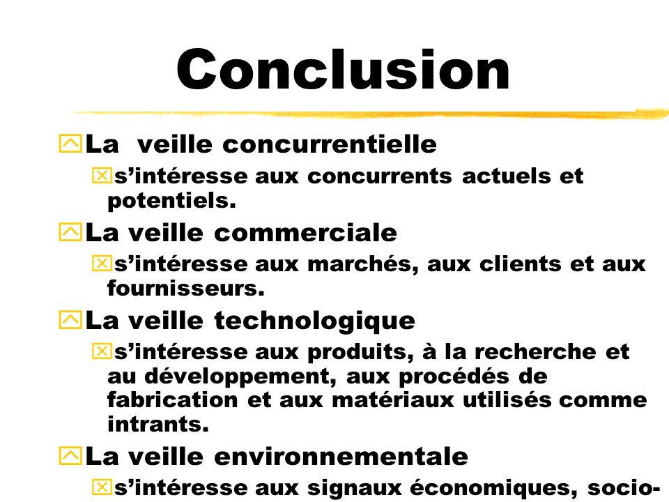yLa veille concurrentielle xsintéresse aux concurrents actuels et potentiels. yLa veille commerciale xsintéresse aux marchés, aux clients et aux fourn