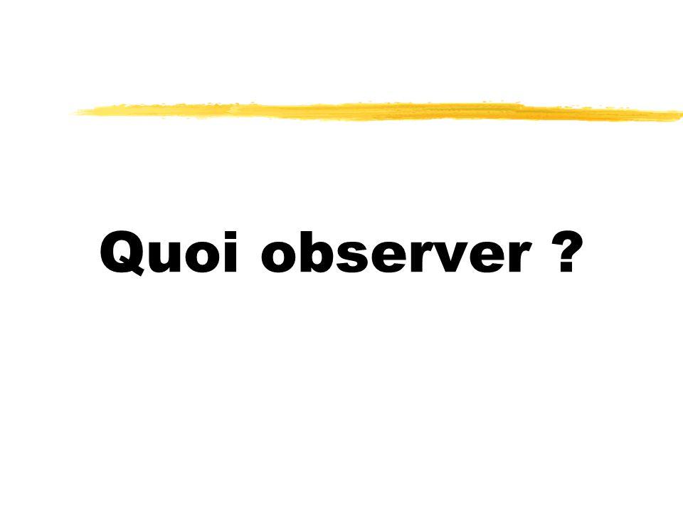 Quoi observer ?
