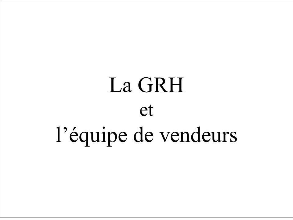 La GRH et léquipe de vendeurs