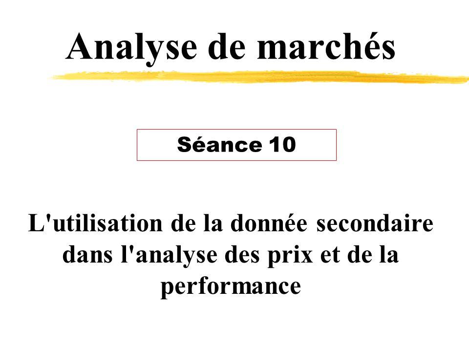 Analyse de marchés L utilisation de la donnée secondaire dans l analyse des prix et de la performance Séance 10