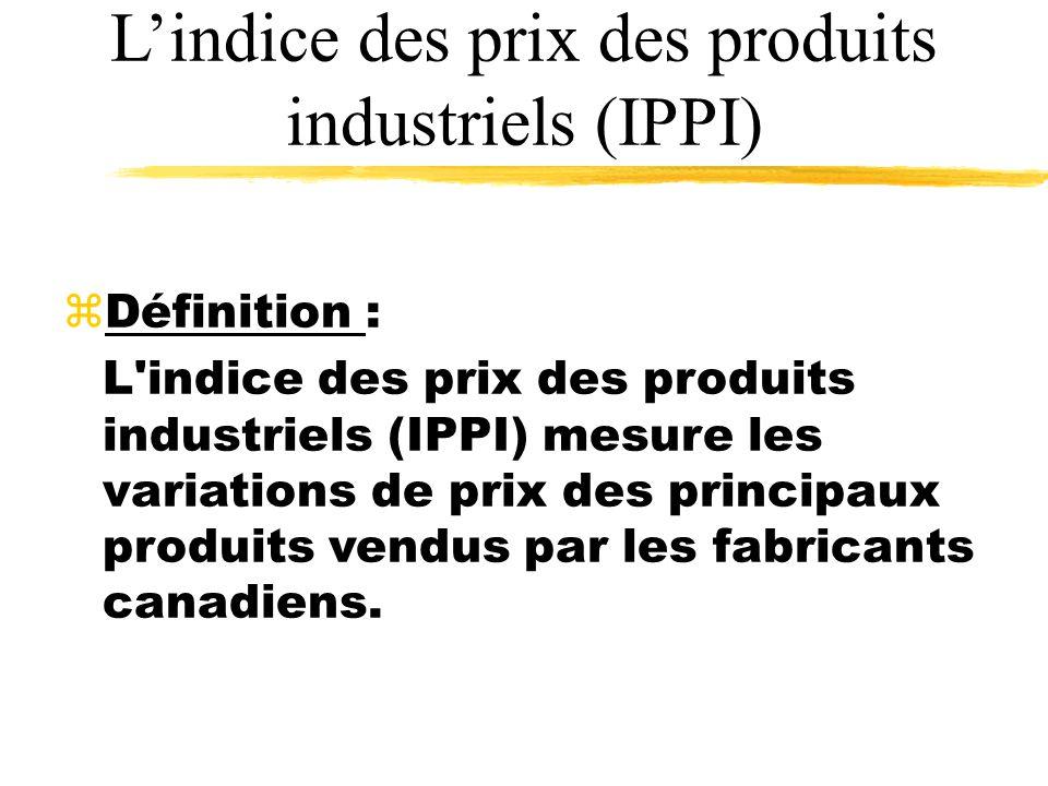 Lindice des prix des produits industriels (IPPI) zDéfinition : L indice des prix des produits industriels (IPPI) mesure les variations de prix des principaux produits vendus par les fabricants canadiens.