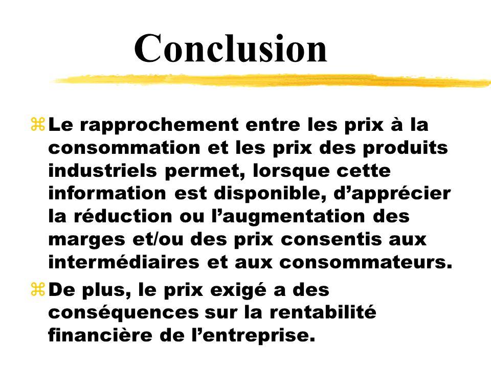 Conclusion zLe rapprochement entre les prix à la consommation et les prix des produits industriels permet, lorsque cette information est disponible, dapprécier la réduction ou laugmentation des marges et/ou des prix consentis aux intermédiaires et aux consommateurs.