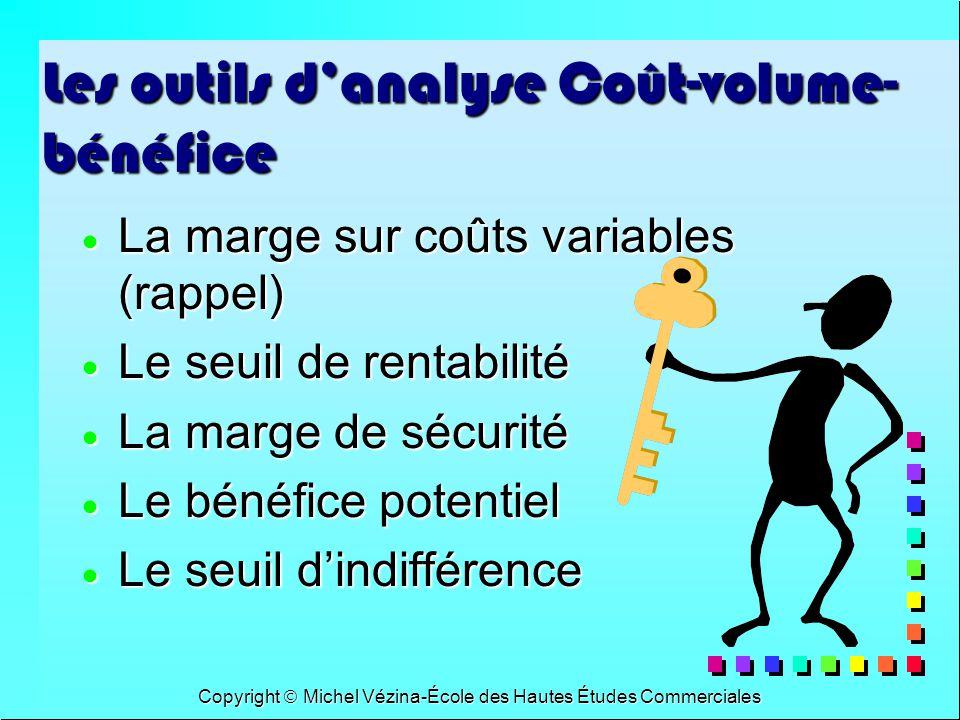 Copyright Michel Vézina-École des Hautes Études Commerciales Les outils danalyse Coût-volume- bénéfice La marge sur coûts variables (rappel) La marge