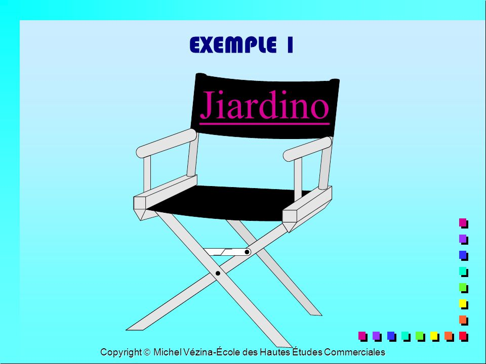 Copyright Michel Vézina-École des Hautes Études Commerciales EXEMPLE 1 Jiardino