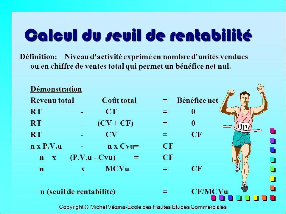 Copyright Michel Vézina-École des Hautes Études Commerciales Solution exemple supplémentaire Q1: 25 x 1,55$= 38.75$ Q1: 25 x 1,55$= 38.75$ Q2: FF1-FF2/MCV1-MCV2= 55$/1.55$=35.48 fois Q2: FF1-FF2/MCV1-MCV2= 55$/1.55$=35.48 fois