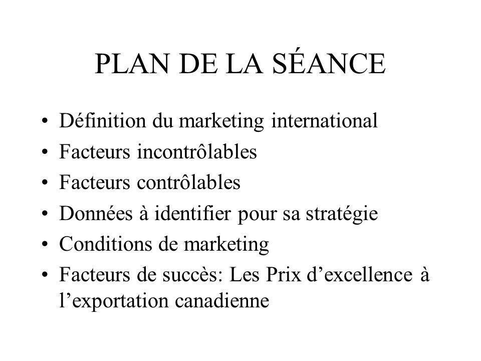 PLAN DE LA SÉANCE Définition du marketing international Facteurs incontrôlables Facteurs contrôlables Données à identifier pour sa stratégie Condition