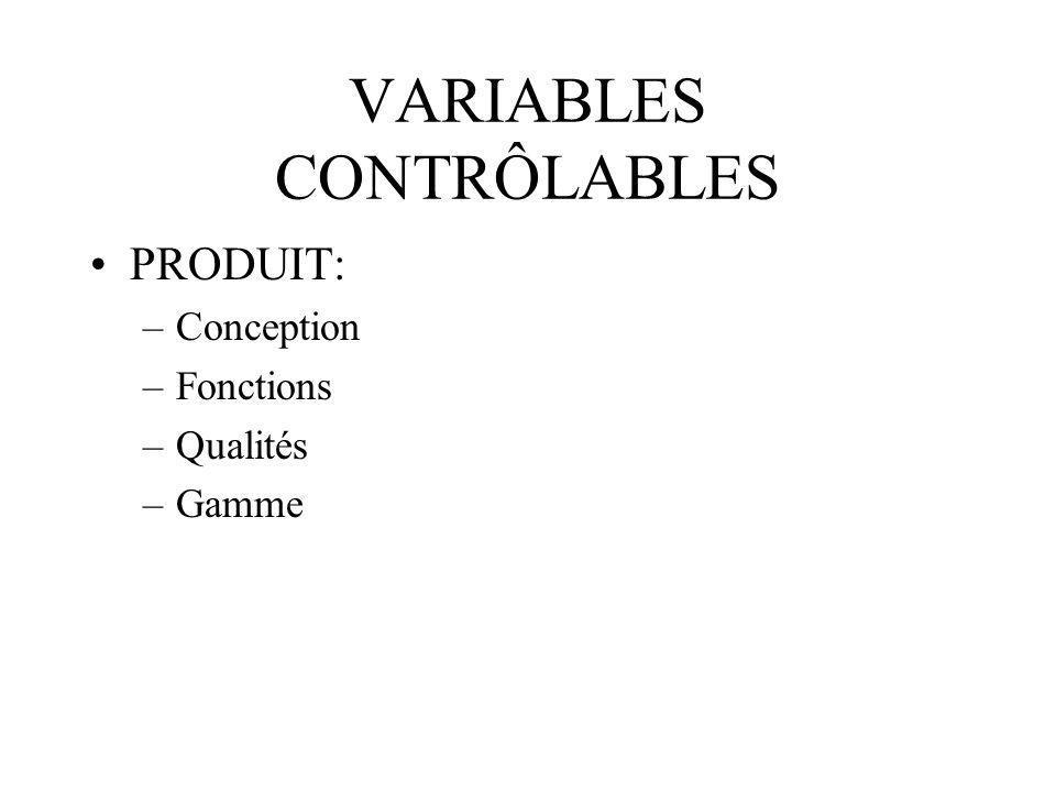VARIABLES CONTRÔLABLES (suite) PRIX : –coût de revient (frais fixes et variables) –coût de transport –coûts de promotion internationale –coûts de financement –coûts de dédouanement
