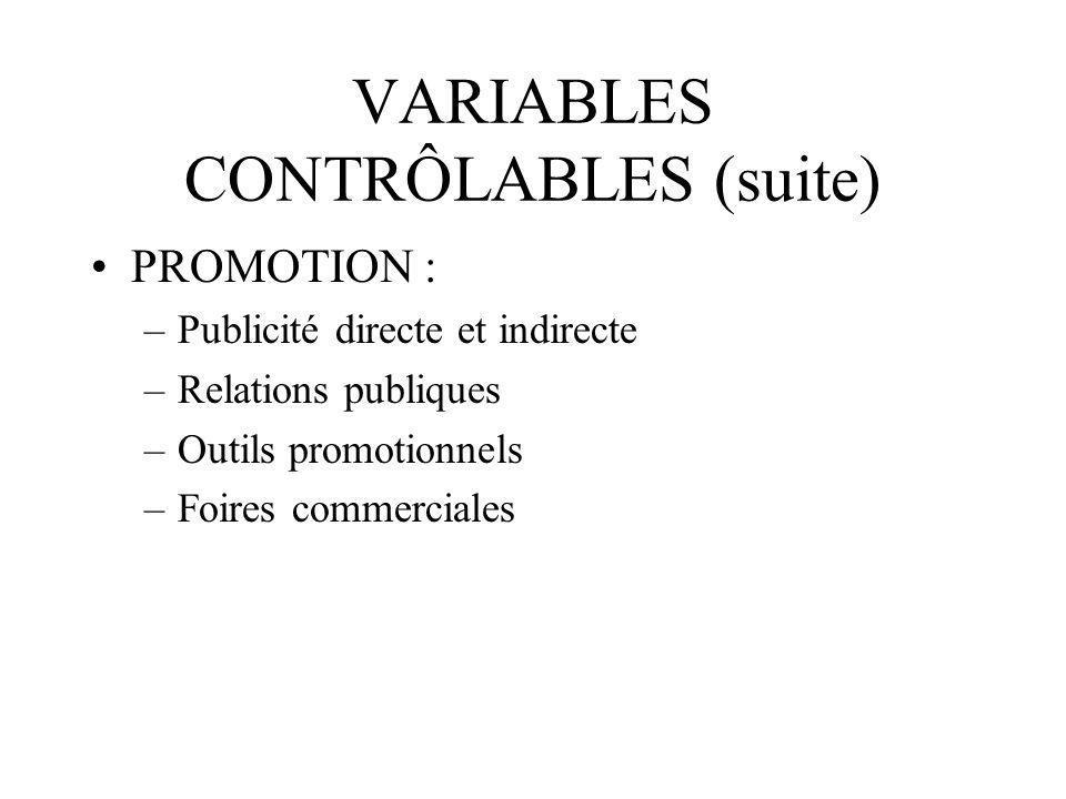 VARIABLES CONTRÔLABLES (fin) DISTRIBUTION : –Circuits spécifiques –Réglementation –Avantages fiscaux –Exigences culturelles