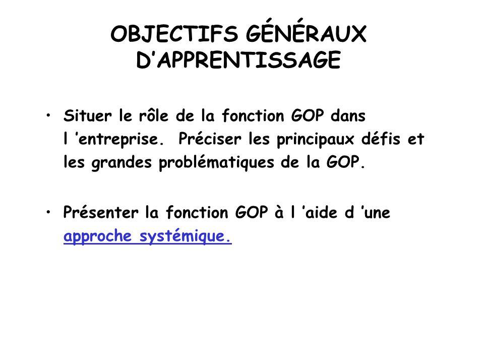 LENTREPRISE EN ACTION GESTION DES OPÉRATIONS ET DE LA PRODUCTION (GOP)