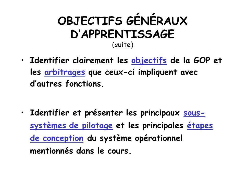 OBJECTIFS GÉNÉRAUX DAPPRENTISSAGE Situer le rôle de la fonction GOP dans l entreprise.