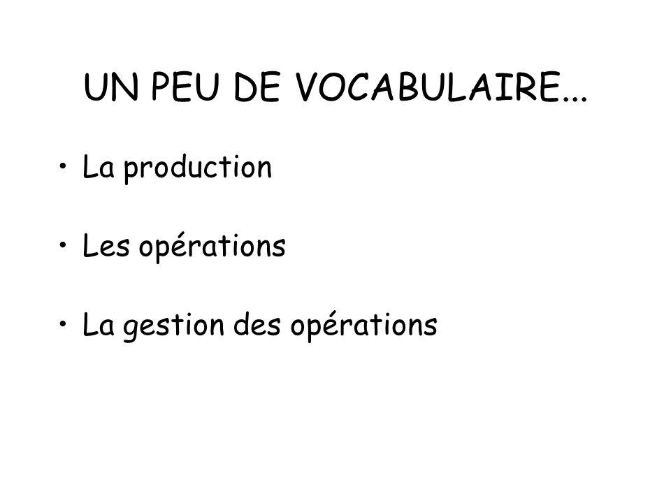 DESCRIPTION DE LA SÉANCE Définir les termes production, opération, gestion de la production et des opérations.