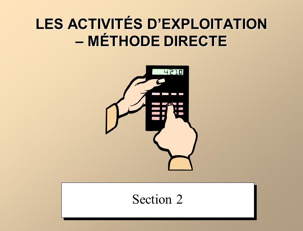 LES ACTIVITÉS DEXPLOITATION – MÉTHODE DIRECTE Section 2
