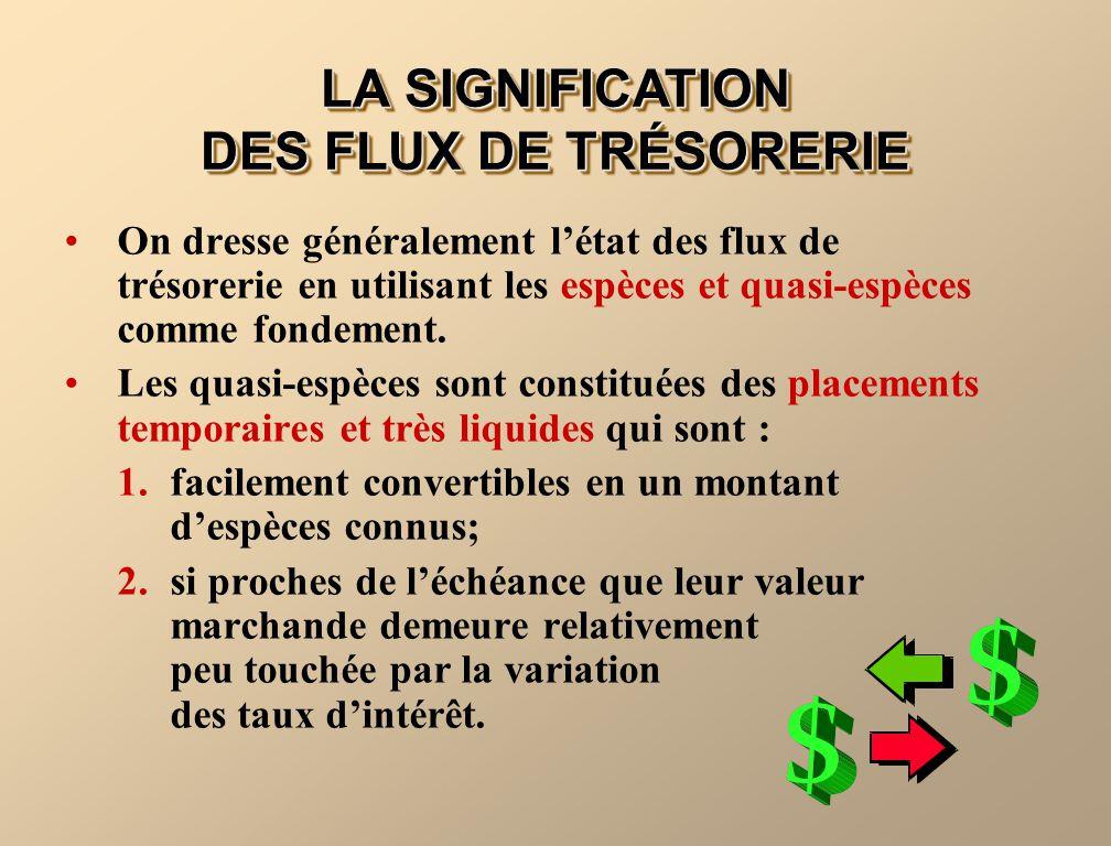 LA SIGNIFICATION DES FLUX DE TRÉSORERIE On dresse généralement létat des flux de trésorerie en utilisant les espèces et quasi-espèces comme fondement.