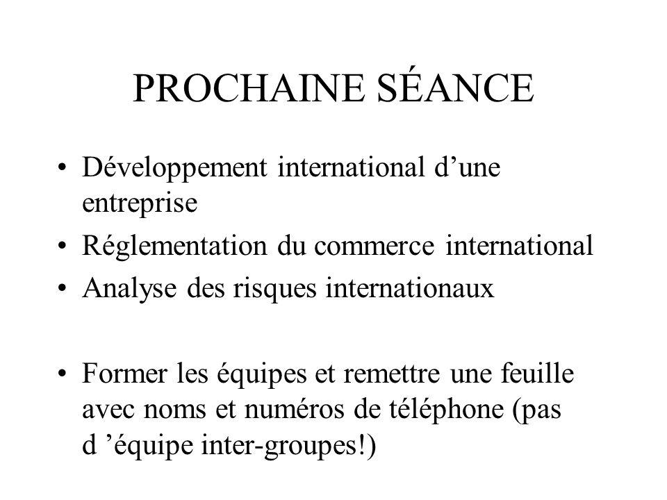 PROCHAINE SÉANCE Développement international dune entreprise Réglementation du commerce international Analyse des risques internationaux Former les équipes et remettre une feuille avec noms et numéros de téléphone (pas d équipe inter-groupes!)