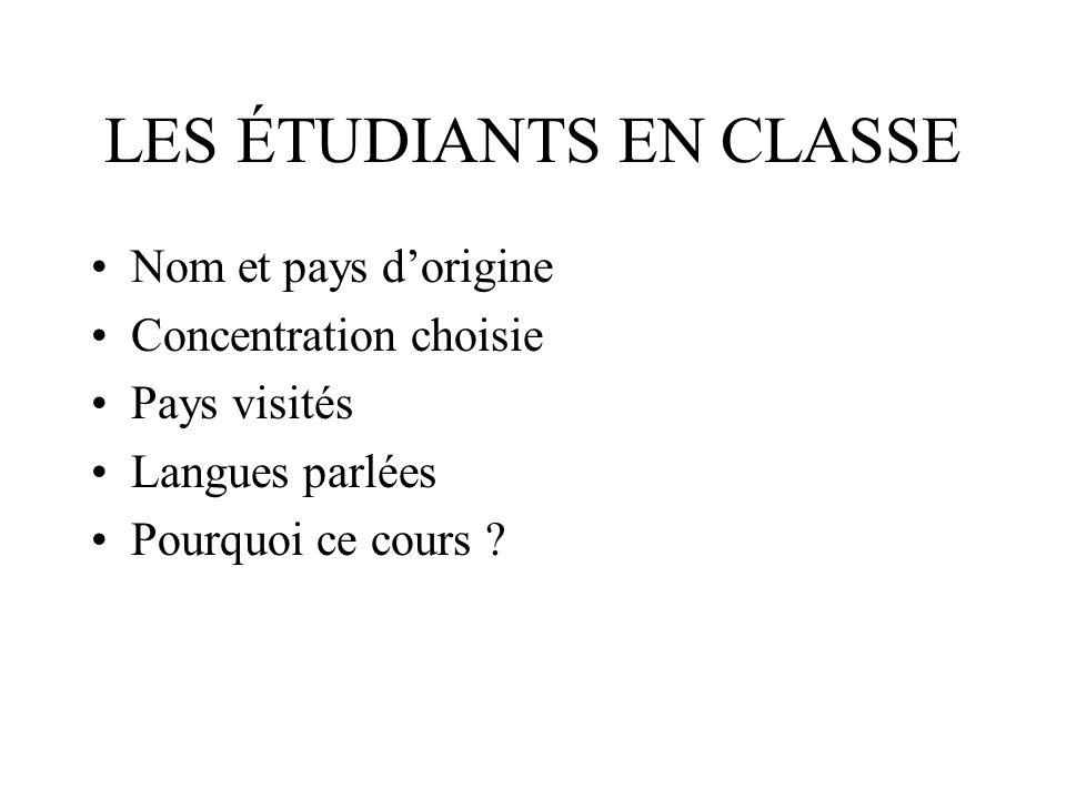 LES ÉTUDIANTS EN CLASSE Nom et pays dorigine Concentration choisie Pays visités Langues parlées Pourquoi ce cours ?