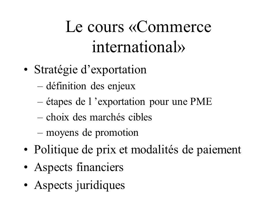 Le cours «Commerce international» Stratégie dexportation –définition des enjeux –étapes de l exportation pour une PME –choix des marchés cibles –moyens de promotion Politique de prix et modalités de paiement Aspects financiers Aspects juridiques