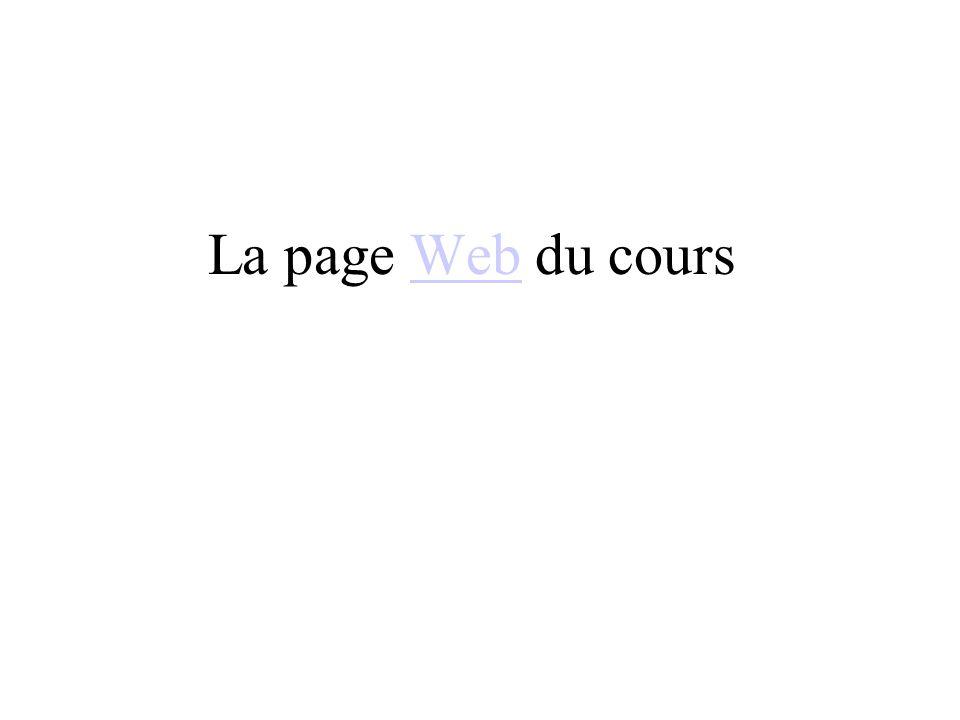 La page Web du coursWeb