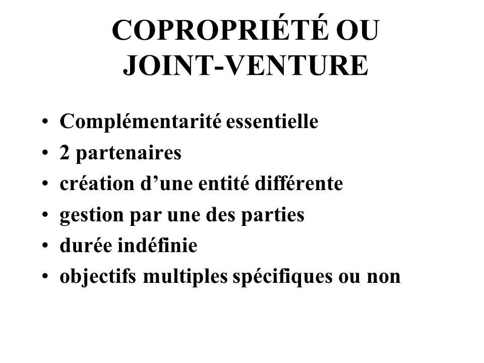 COPROPRIÉTÉ OU JOINT-VENTURE Complémentarité essentielle 2 partenaires création dune entité différente gestion par une des parties durée indéfinie objectifs multiples spécifiques ou non