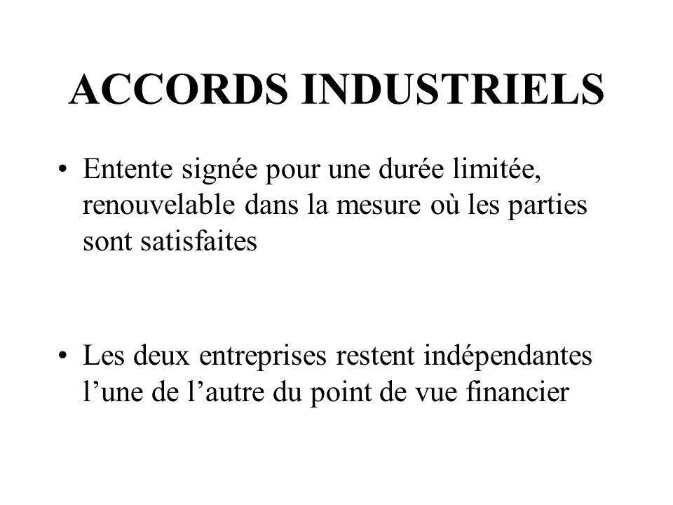 ACCORDS INDUSTRIELS Entente signée pour une durée limitée, renouvelable dans la mesure où les parties sont satisfaites Les deux entreprises restent indépendantes lune de lautre du point de vue financier