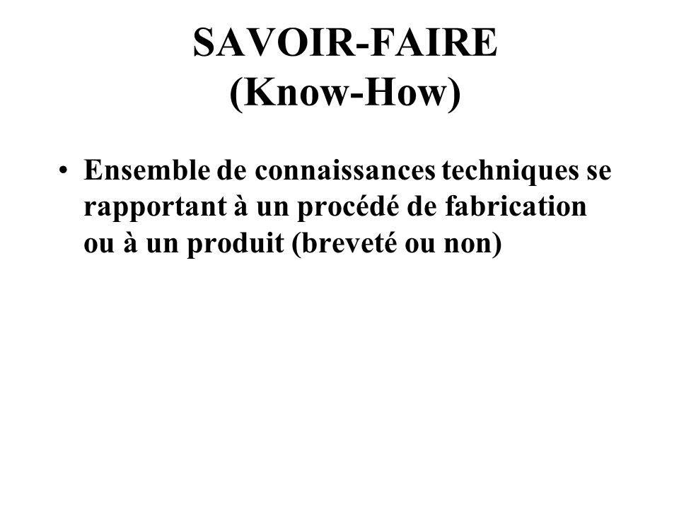 SAVOIR-FAIRE (Know-How) Ensemble de connaissances techniques se rapportant à un procédé de fabrication ou à un produit (breveté ou non)