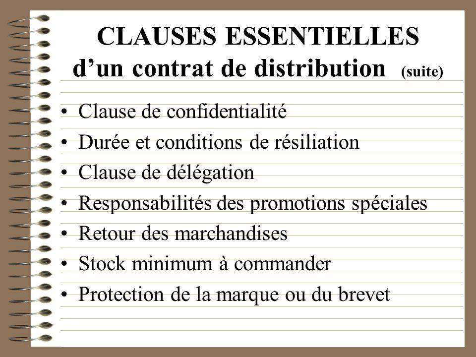 CLAUSES ESSENTIELLES dun contrat de distribution (suite) Clause de confidentialité Durée et conditions de résiliation Clause de délégation Responsabil