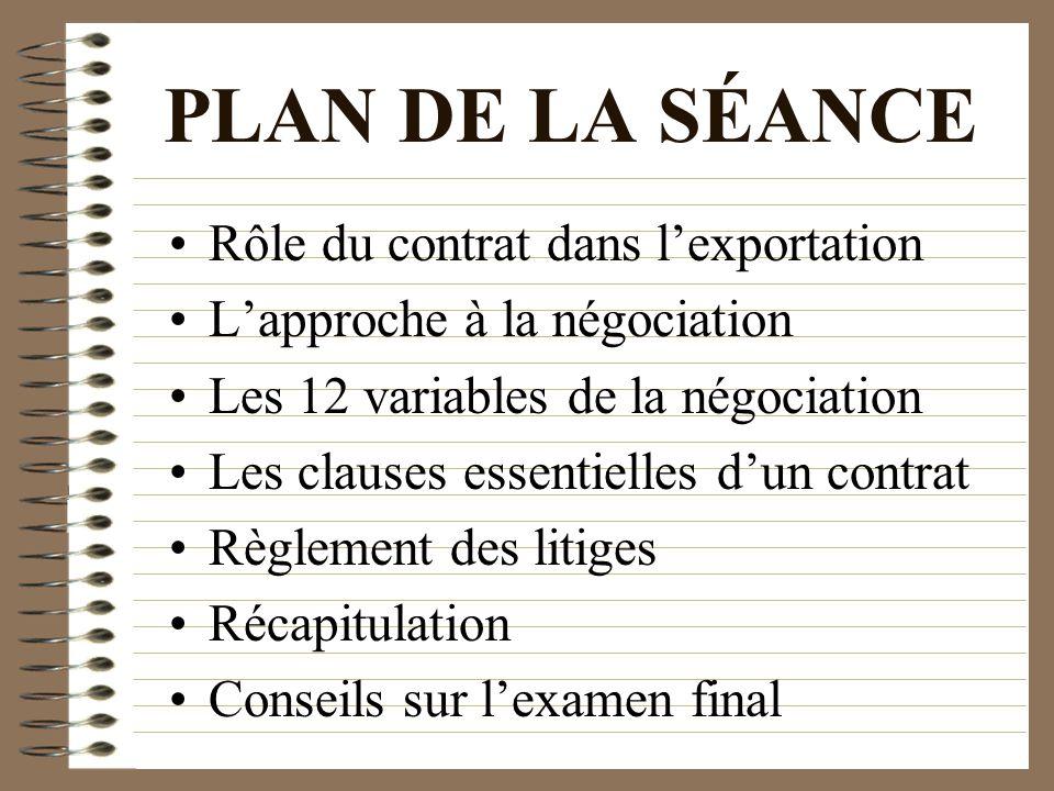 PLAN DE LA SÉANCE Rôle du contrat dans lexportation Lapproche à la négociation Les 12 variables de la négociation Les clauses essentielles dun contrat