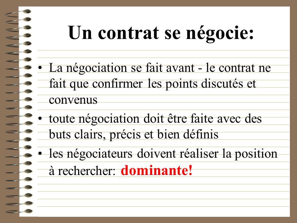 Un contrat se négocie: La négociation se fait avant - le contrat ne fait que confirmer les points discutés et convenus toute négociation doit être fai