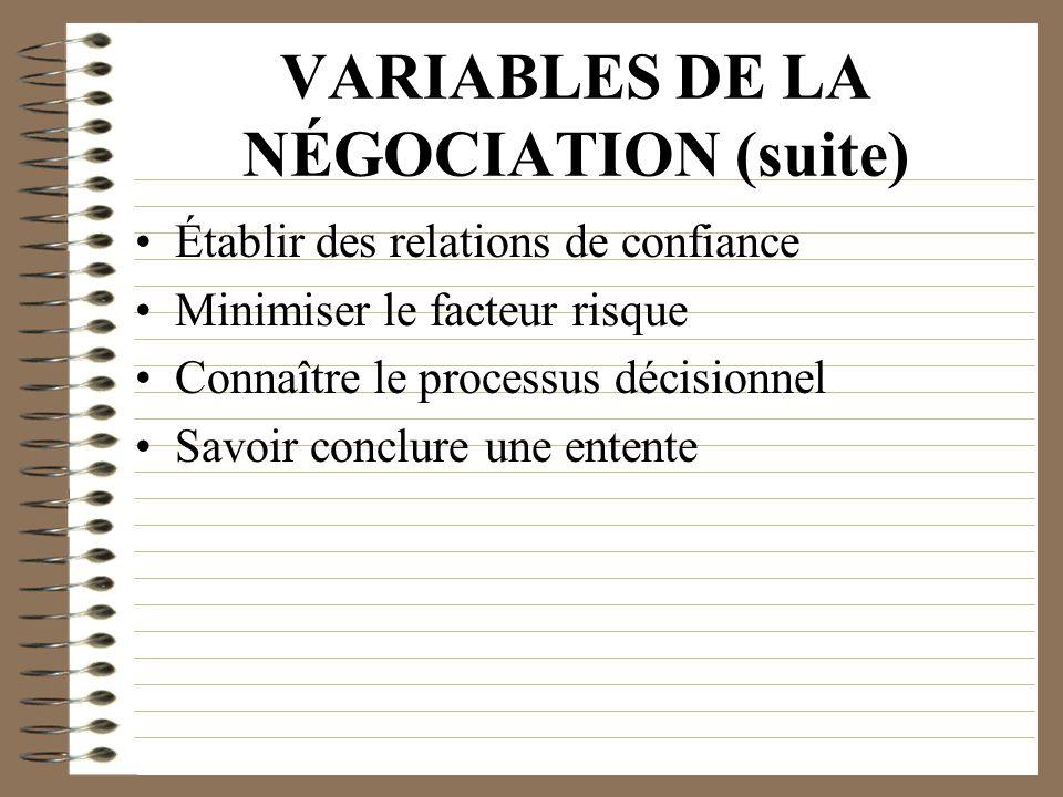 VARIABLES DE LA NÉGOCIATION (suite) Établir des relations de confiance Minimiser le facteur risque Connaître le processus décisionnel Savoir conclure
