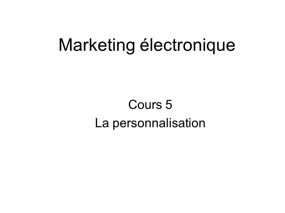 Marketing électronique Cours 5 La personnalisation