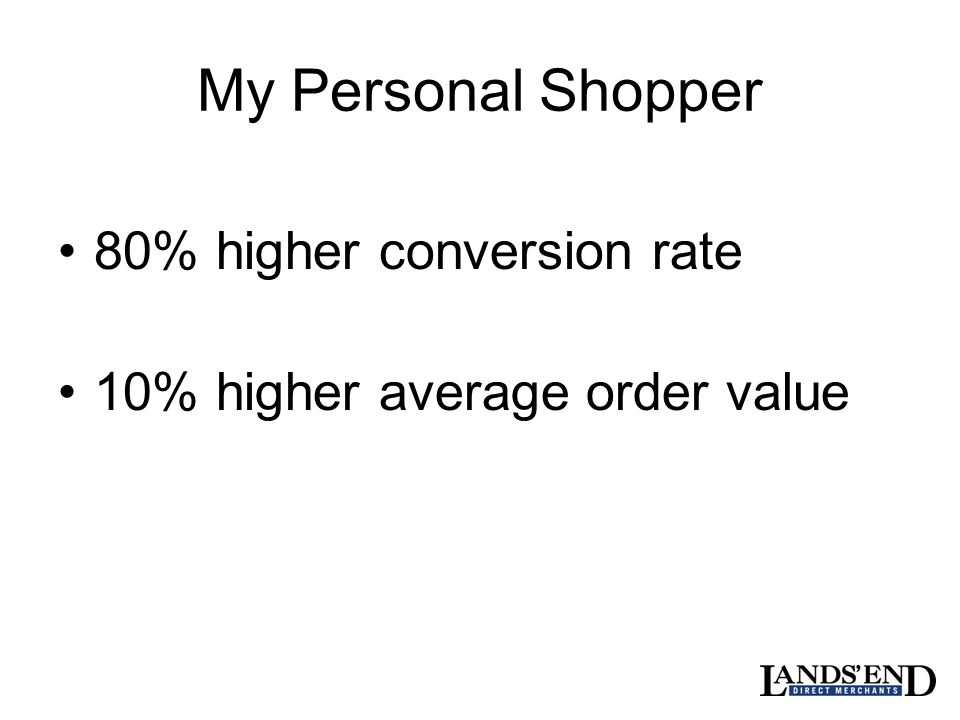 My Personal Shopper 80% higher conversion rate 10% higher average order value