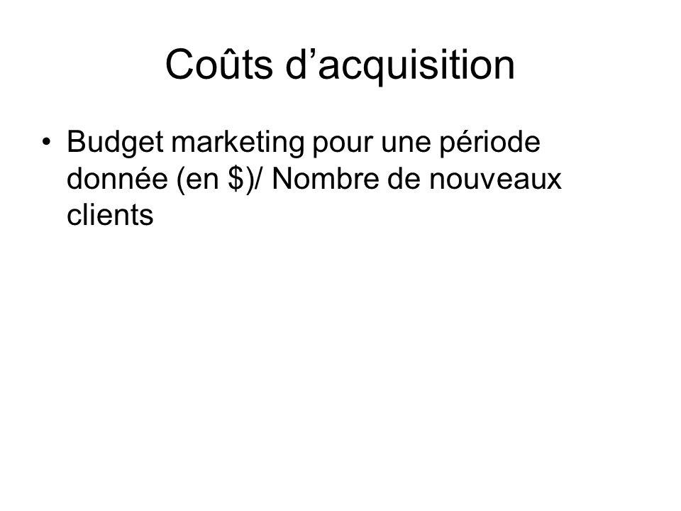 Coûts dacquisition Budget marketing pour une période donnée (en $)/ Nombre de nouveaux clients