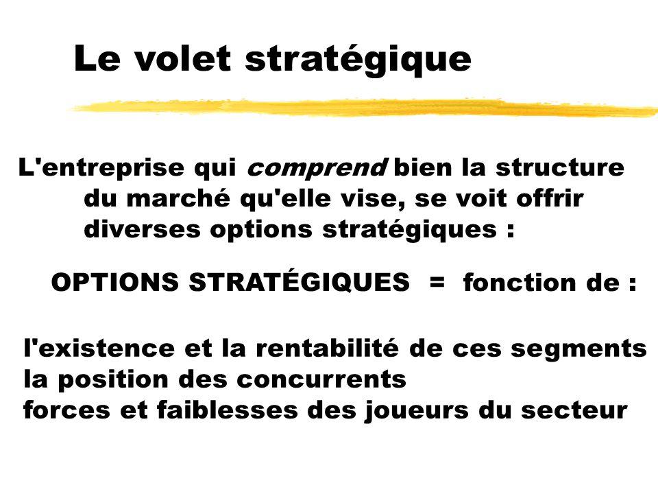 Le volet stratégique L'entreprise qui comprend bien la structure du marché qu'elle vise, se voit offrir diverses options stratégiques : OPTIONS STRATÉ