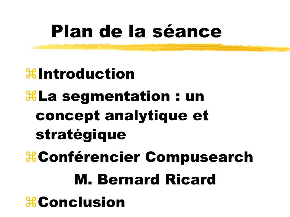 Plan de la séance zIntroduction zLa segmentation : un concept analytique et stratégique zConférencier Compusearch M. Bernard Ricard zConclusion
