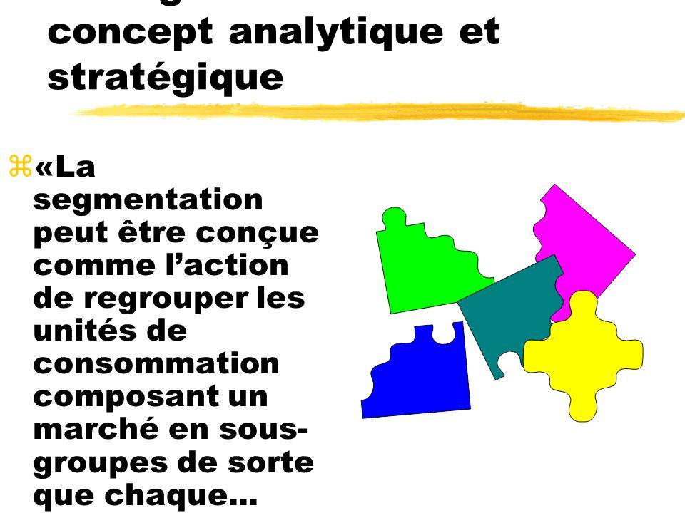 La segmentation : un concept analytique et stratégique z«La segmentation peut être conçue comme laction de regrouper les unités de consommation compos