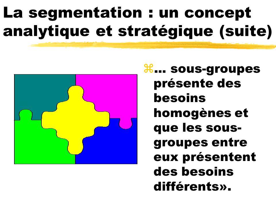 La segmentation : un concept analytique et stratégique (suite) z... sous-groupes présente des besoins homogènes et que les sous- groupes entre eux pré