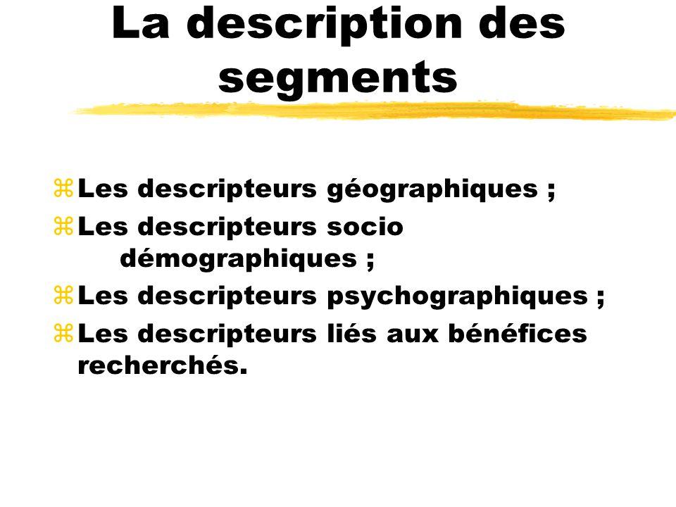 La description des segments zLes descripteurs géographiques ; zLes descripteurs socio démographiques ; zLes descripteurs psychographiques ; zLes descr